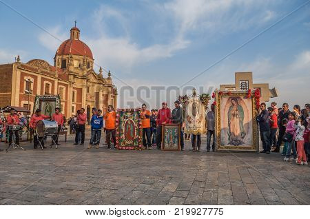 VILLA OF GUADALUPE, MEXICO CITY, DECEMBER 02, 2017 - Each year millions of pilgrims arrive to La Villa even on days before December 12 as this of the town of the Boxtha in Hidalgo Mexico.