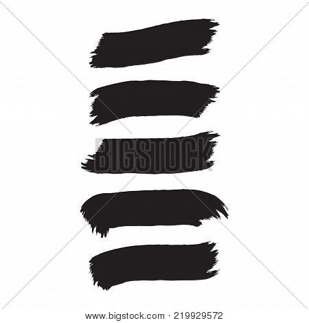 Abstract inky black artistic brush rectangle banners design element set on white background