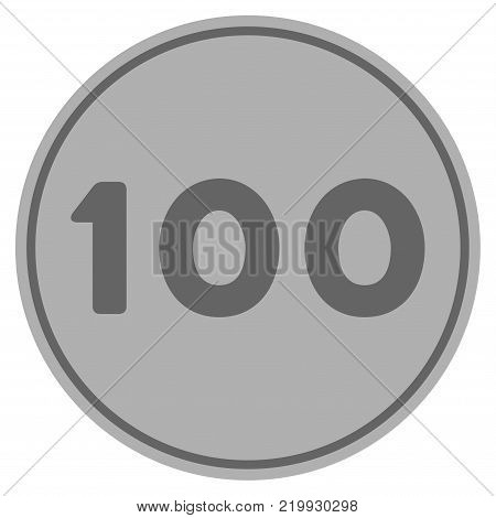 Hundred silver coin icon. Vector style is a silver grey flat coin symbol.
