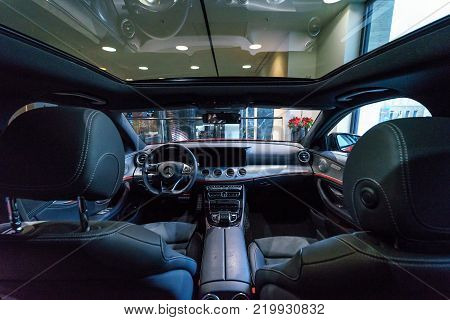 BERLIN - DECEMBER 21, 2017: Showroom. Cabin of the executive car Mercedes-Benz E-Class E220d (W213). Since 2017.