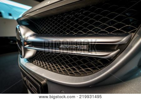 BERLIN - DECEMBER 21, 2017: Showroom. Detail of the mid-size car Mercedes-Benz C-Class AMG C63 (W205). Since 2015.