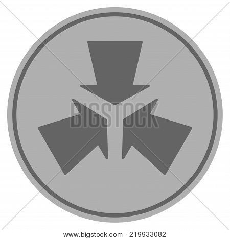 Shrink Arrows silver coin icon. Vector style is a silver gray flat coin symbol.