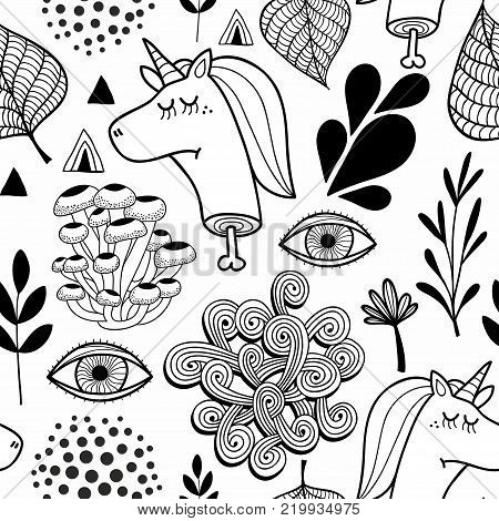 Black and white seamless pattern with head of dead unicorn. Vector endless illustration for adult coloring.
