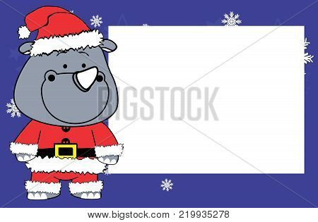 cute rhino cartoon xmas frame picture background in vector format very easy to edit