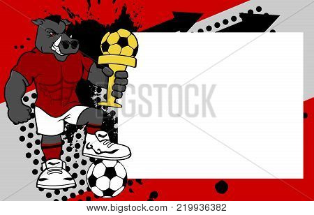 strong sporty wild pig futbol soccer player cartoon picture frame background in vector format