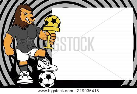 strong sporty lion futbol soccer player cartoon picture frame background in vector format