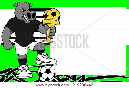 strong sporty hippo futbol soccer player cartoon picture frame background in vector format