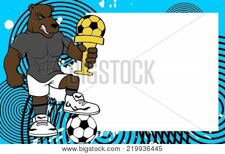 strong sporty bear futbol soccer player cartoon picture frame background in vector format