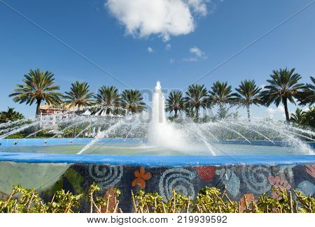 The fountain in Port Lucaya, the resort district of Freeport town on Grand Bahama Island.