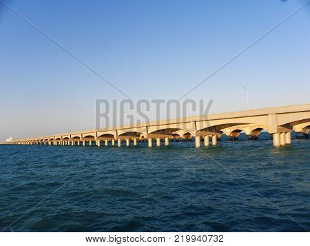 Long dock of big arches in the port of Progreso, Yucatan