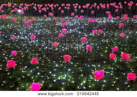 BANGKOK , THAILAND - DECEMBER 14 , 2017 : Flower  light decorated beautiful New Year Celebration 2018 at Esplanade Cineflex for Happy New Year event in Bangkok city,Thailand.