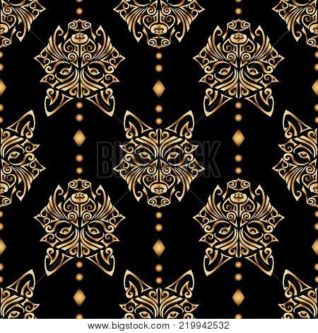 Seamless pattern with golden wolf or husky dog head stylized Maori face tattoo on black background. Dog is symbol of Chinese 2018 New year. Vector.