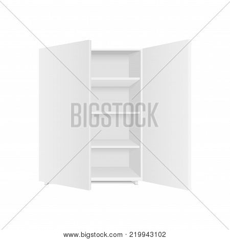 Blank empty showcases display with retail shelves. Front view. Vector mock up template ready for your design.