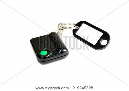 Keychain with button for calling security. Button for fast mobile help. Button for calling bodyguard.