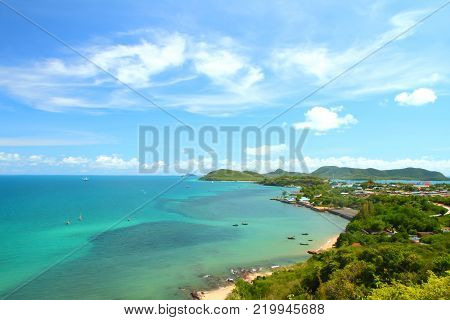 Heaven horizon blue seascape at Samaesan Chonburi, Gulf of Thailand.