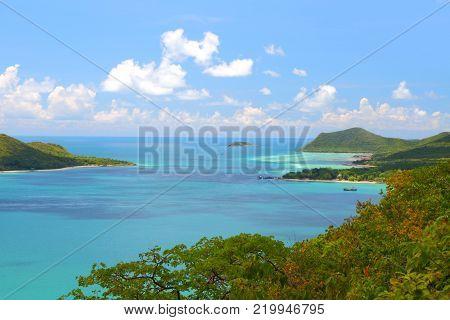 Heaven horizon blue seascape at Samaesan Island Chonburi, Gulf of Thailand.