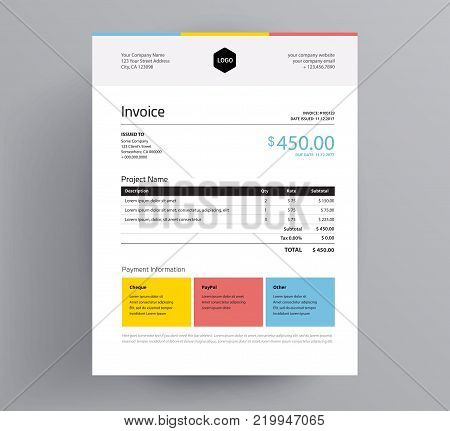 Invoice template colorful design in minimal style - three colors - yellow, blue, red