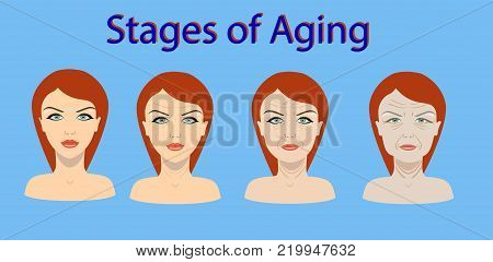Vector aging process. Four stages of face changing on the blue background