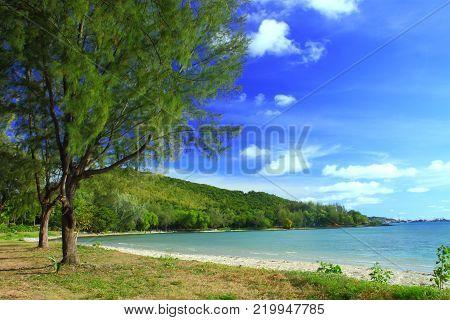 Clear blue sea at Tien talay beach Sattahip Chonburi province, Gulf of Thailand.