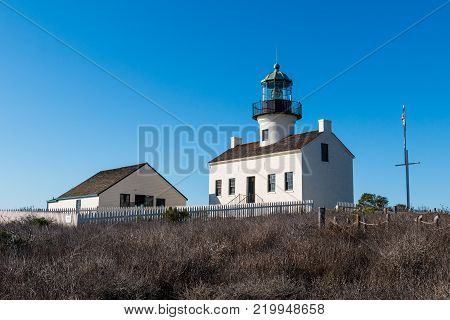 Old Point Loma lighthouse with assistant keeper's quarters in San Diego, California