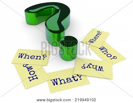 Glossy green question mark, six sticky notes on the ground with the words Why, When, How, Where, What and Who on a white background, 3d rendering