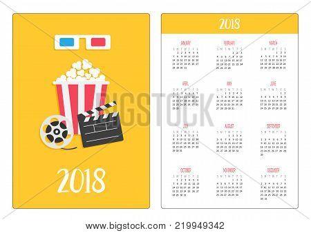 Pocket calendar 2018 year. Week starts Sunday. 3D paper red blue glasses. Open clapper board Movie reel Popcorn Cinema Movie icon set. Flat design style. Yellow background. Vector illustration