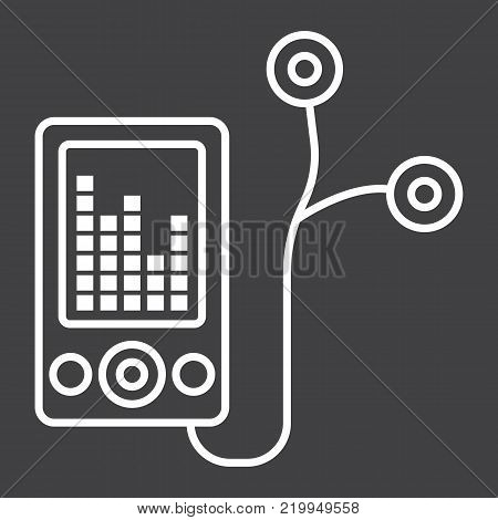 Mp player device line icon, fitness and audio, music sign vector graphics, a linear pattern on a black background, eps 10.