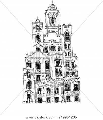 Vector Hand Drawn Houses Line Drawing Mansions Sketch Of Buildings Urban Element