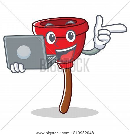 With laptop plunger character cartoon style vector illustration
