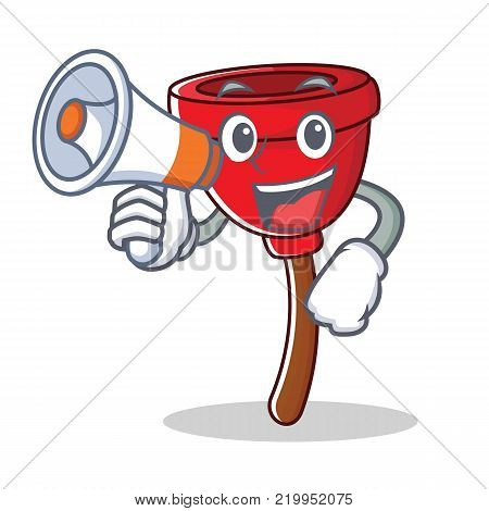 With megaphone plunger character cartoon style vector illustration
