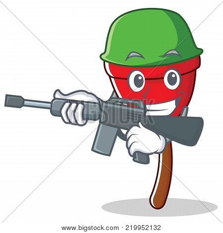 Army plunger character cartoon style vector illustration