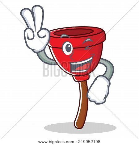 Two finger plunger character cartoon style vector illustration