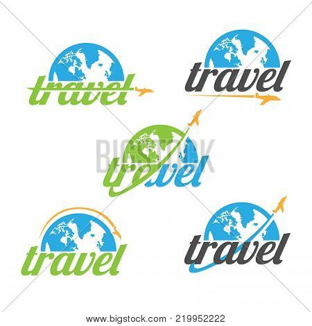 Various travel agency logo design idea and concept with airplane and half of globe. Amazing destinations creative symbol concept. Abstract logo.