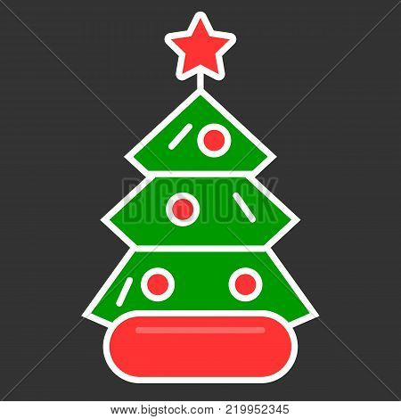 Dressed Christmass tree linear colorful icon. Christmass tree on black background. Vector eps10