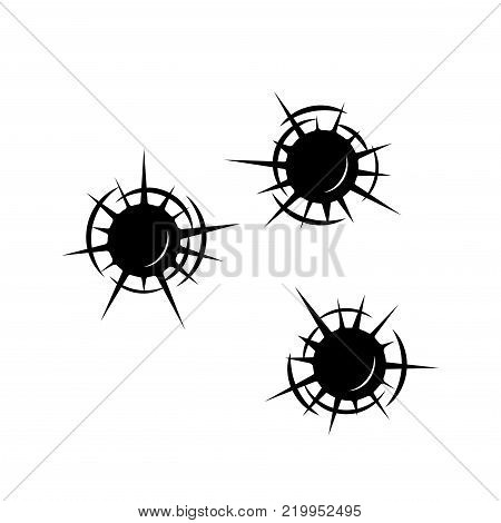 On the image presented Openings from a bullet ,a vector illustration.