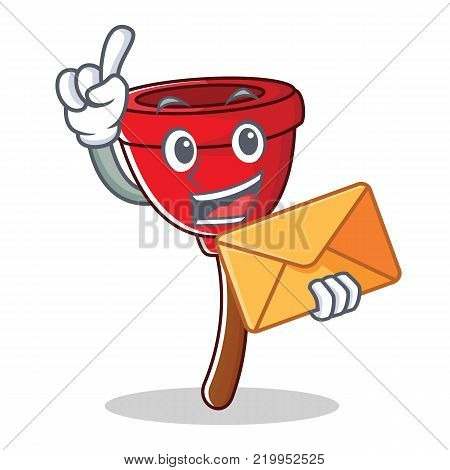 With envelope plunger character cartoon style vector illustration