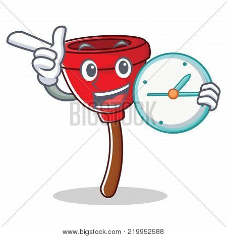 With clock plunger character cartoon style vector illustration