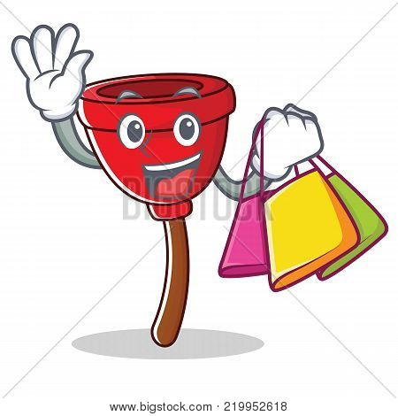 Shopping plunger character cartoon style vector illustration