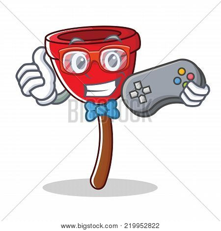 Gamer plunger character cartoon style vector illustration