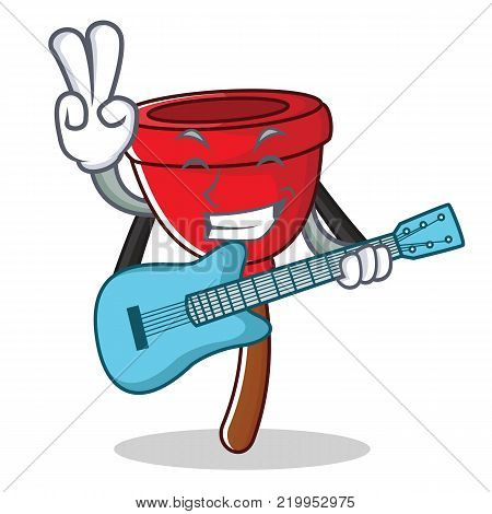 With guitar plunger character cartoon style vector illustration