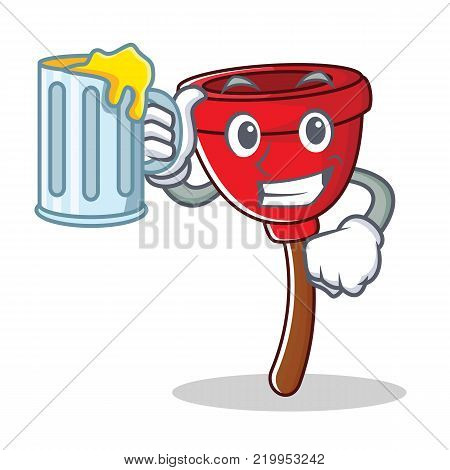 With juice plunger character cartoon style vector illustration