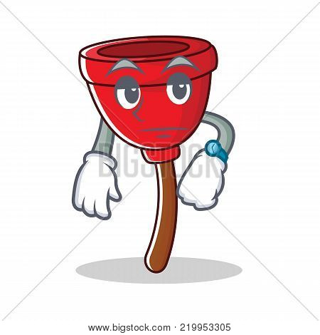 Waiting plunger character cartoon style vector illustration