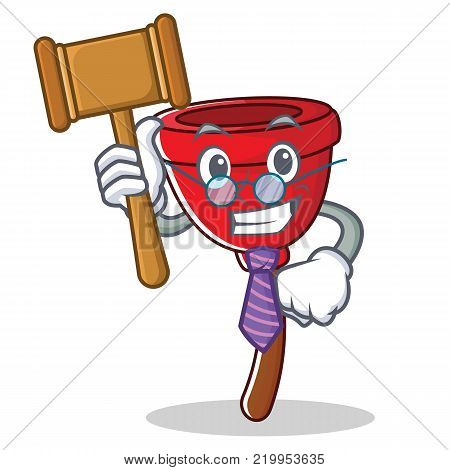 Judge plunger character cartoon style vector illustration