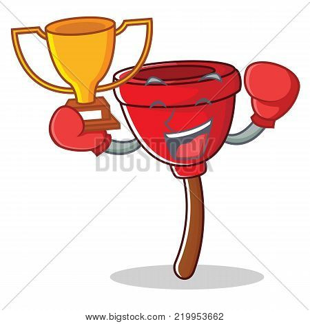 Boxing winner plunger character cartoon style vector illustration