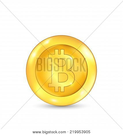 Bitcoin Icon for Internet Money. Crypto currency Symbol. Isolated on White Background - Illustration Vector