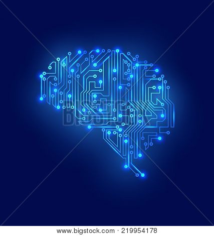 Stylized Brain. Circuit Board Texture, Electricity Mind - Illustration Vector