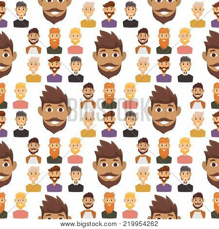 Character of various expressions bearded man face avatar and fashion hipster hairstyle head person with mustache vector illustration. Seamless pattern background gentleman adult smile expression.