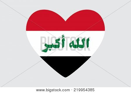 Heart in colors of the Iraq flag, vector