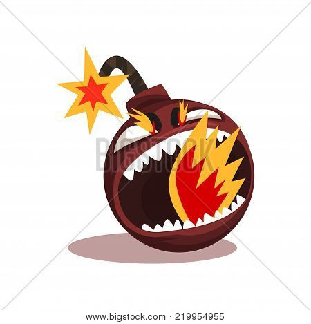 Furious bomb with burning wick. Funny emoticon in flat style. Vector illustration isolated on white background. Graphic design element for mobile app, social network sticker or print.