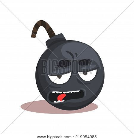 Comic bomb emoji. Cartoon character with bored face expression. Graphic design for mobile application, print or sticker. Symbol in flat style. Vector illustration isolated on white background.